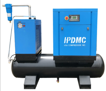 10HP 230V 39cfm@125 psi Rotary Screw Air Compressor 230V/60Hz 3-Phase Permanent Magnet Variable Frequency Drive 80 Gallon Air Tank with Air Dryer-PACK7-TAVSD/230V/80-Gallon