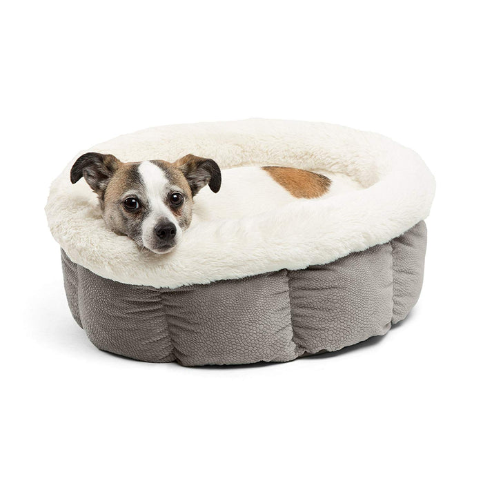 Best Friends by Sheri Small Cuddle Cup - Cozy, Comfortable Cat and Dog House Bed - High-Walls for Improved Sleep, Gray
