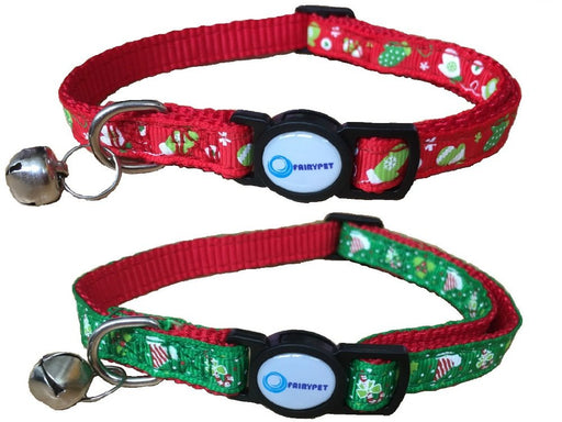 Christmas Cat Collar Adjustable Breakaway Pet Collar with Bells,Set of 2