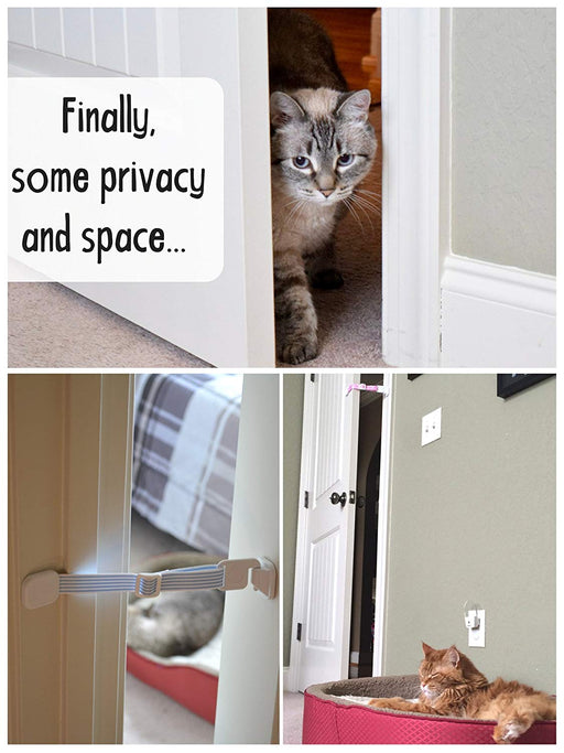 Door Buddy Adjustable Door Latch (Grey 2 Pack + Bonus Adhesives). Simpler Way to Dog Proof Litter Box. No more Pet Cates or Cat Doors. Convenient Cat & Adult Entry. Stop Dog Eating Cat Poop Today!