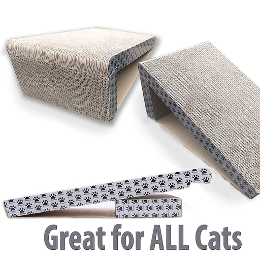 iPrimio Cat Scratcher Ramp - Foldable for Travel and Easy Storage - Great for Cats Playing Over, Laying, and Scratching - Patent Pending Design (1 Pack)