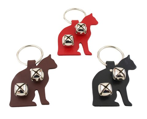 Leather Cat Bell Door Hanger - BLACK - by Auburn Leathercrafters