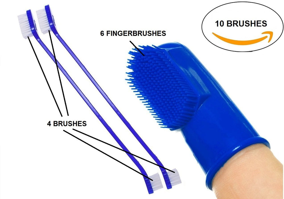 Mascota Pets Dog Toothbrush/Cat Toothbrush 6 Finger Toothbrushes and 2 Long Handle Dual Headed Toothbrushes, Soft Bristle Pet Toothbrush Combo Pack for The Dental Care of Your Cat and Dog