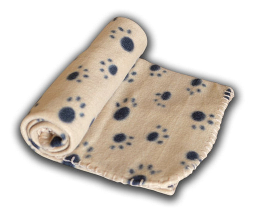 Pet Blanket For Dog Cat Animal 39 x 27 Inches Fleece Black Paw Print All Year Round Puppy Kitten Bed Warm Sleep Mat Fabric Indoors Outdoors, Bronceado