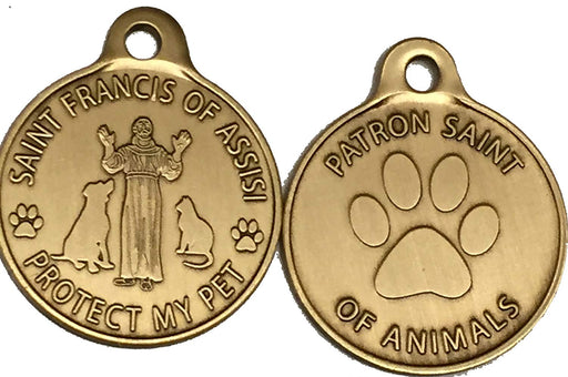 Saint Francis of Assisi Patron Saint Of Pets / Protect My Pet Bronze Dog Cat Tag Charm