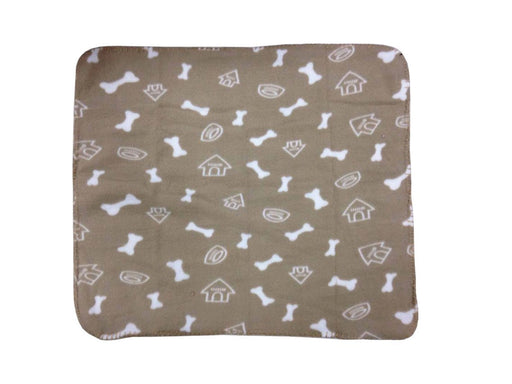 WZYuan Puppy Blanket Bone House Bowl Prints Pet Cushion Small Dog Cat Bed Soft Warm Sleep Mat (Beige)