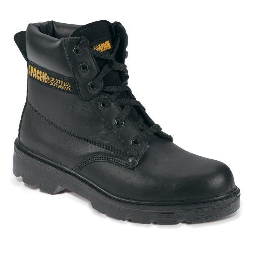 Water Resistant Black Leather Safety Boot