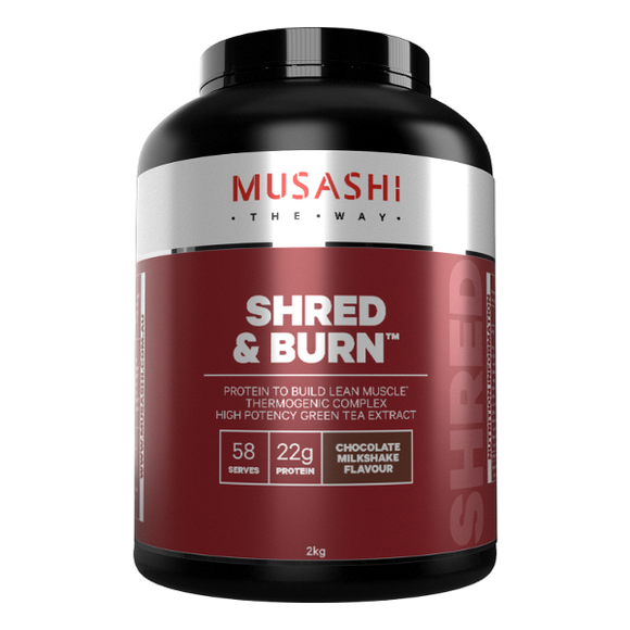 Musashi Shred and Burn Protein Powder 900gr, 2kg, Flavour :Chocolate, Vanilla
