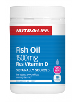 NutraLife Fish Oil 1500mg + Vitamin D 180C