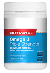 NutraLife Omega 3 Triple Strength Odourless Fish oil, No fishy reflux, mercury tested 150C, 220C