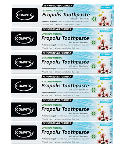 Comvita natural Propolis Toothpaste with Tea Tree oil and Xylitol, 100gr x 6