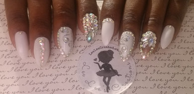 From Miss to Mrs White Nails (Rhinestone Accents)
