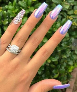 Unicorn Chrome (Rhinestone Ombre Accent Nails)