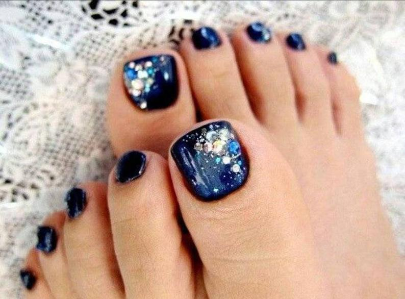 Lost In Your Galaxy Toe Nails (Rhinestone Accents)