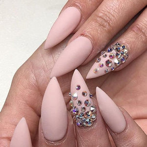Matted & Solid (Rhinestone Accent Nails)