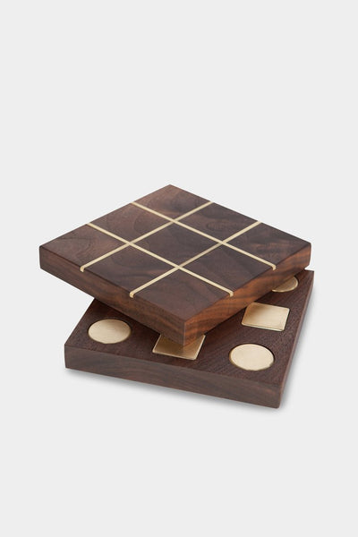 Walnut & Brass Tic-Tac-Toe Set