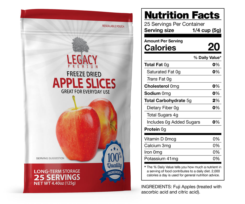 Freeze-Dried Apple Slices (25 Servings Pouch)