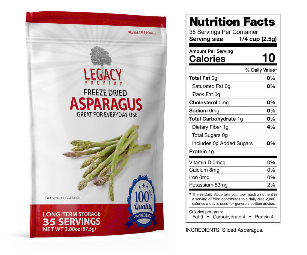 Freeze-Dried Asparagus (35 Servings Pouch)