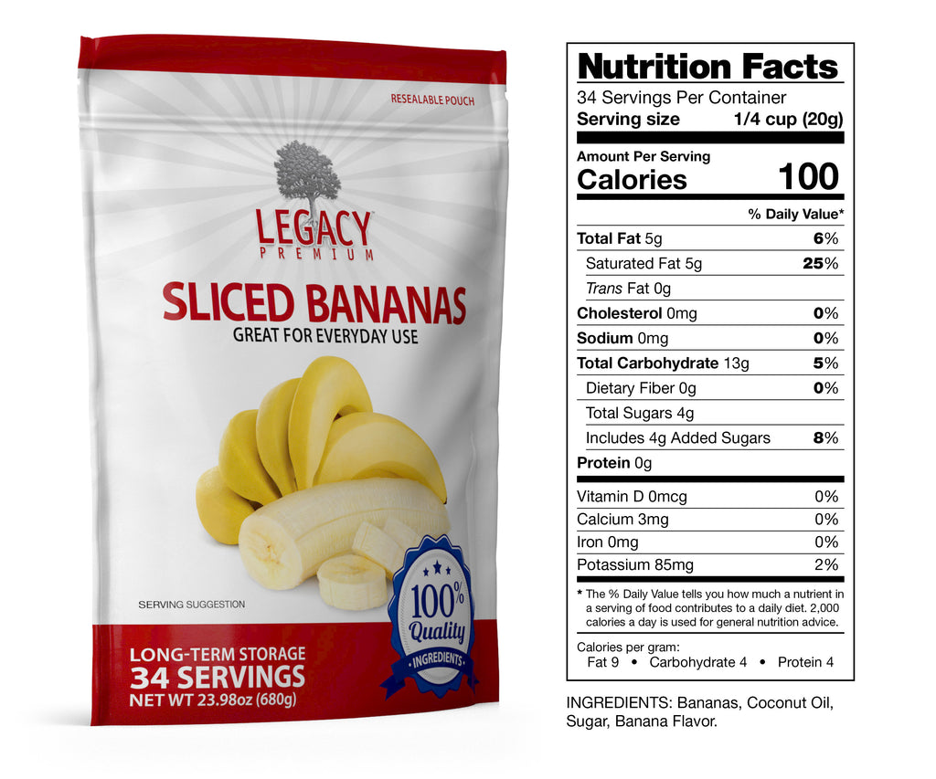 Freeze-Dried Sliced Bananas (34 Servings Pouch)