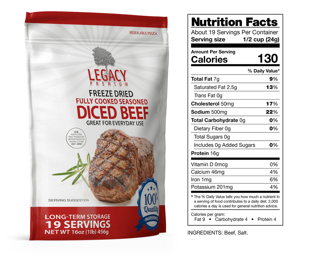 Freeze-Dried Diced Beef