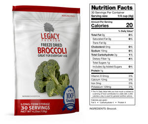 Freeze-Dried Broccoli (30 Servings Pouch)