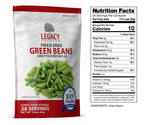 Freeze-Dried Green Beans (28 Servings Pouch)