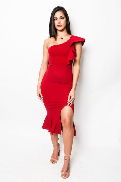 """Like It Like That"" Ruffled One-Shoulder Dress"
