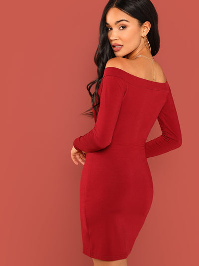 Surplice Wrap Self Tie Off Shoulder Dress