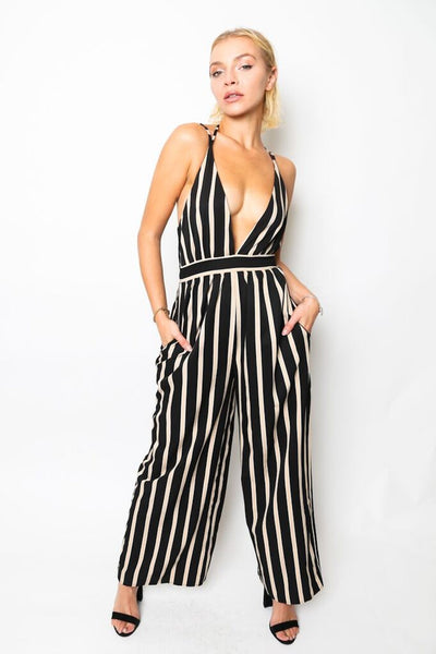 """Like A Boss"" Striped Wide Leg Jumpsuit"