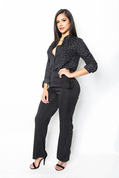 """Peppered"" Polka Dot Blouse"