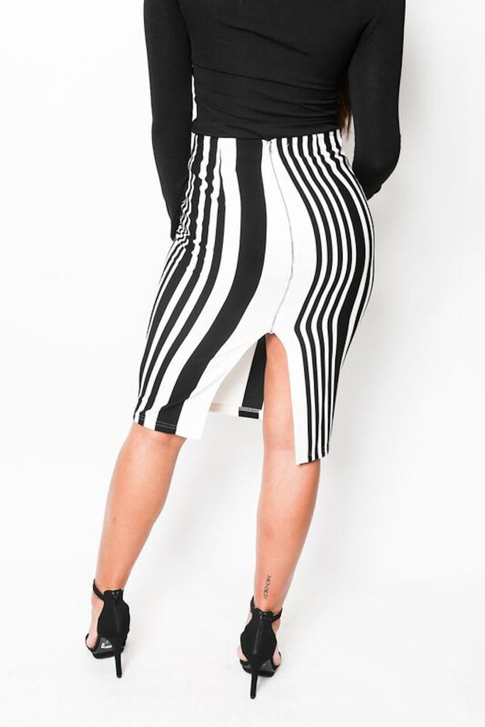 """Striped Up"" Striped Bodycon Skirt"