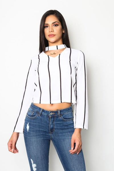 """Urban Chic"" Striped Choker Blouse"