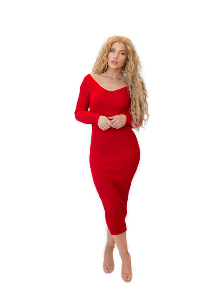"""I'm Seeing Red"" Sweater Dress"