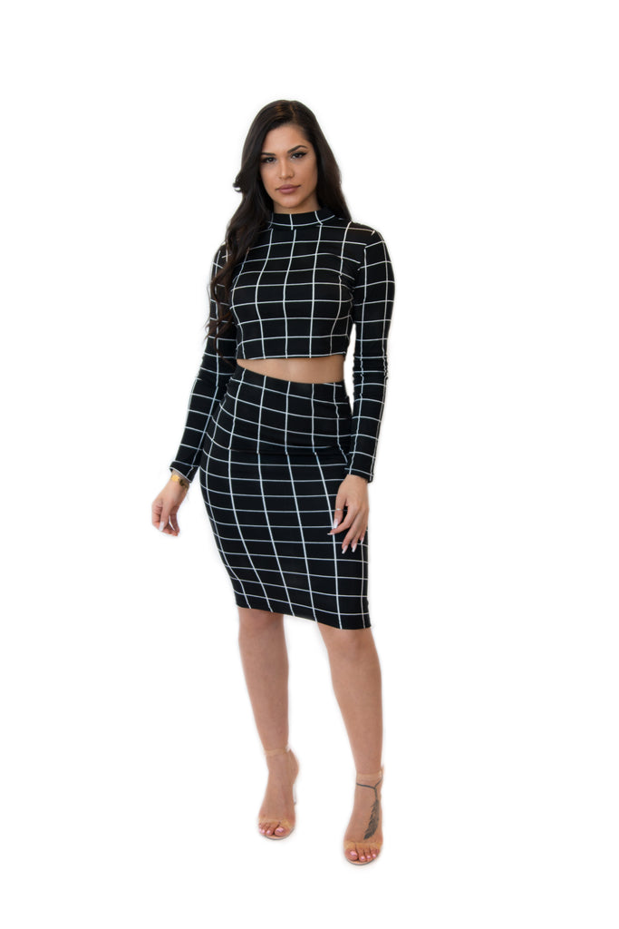 """Checked Out"" Matching Crop Top and Skirt"