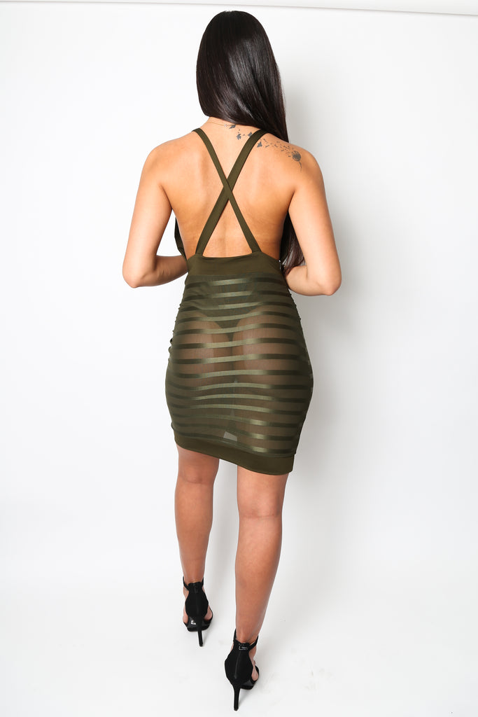 """C Thru Me"" Army Green Halter Dress - Strictly Fits Boutique Find Your Perfect Fit Dresses Collection"