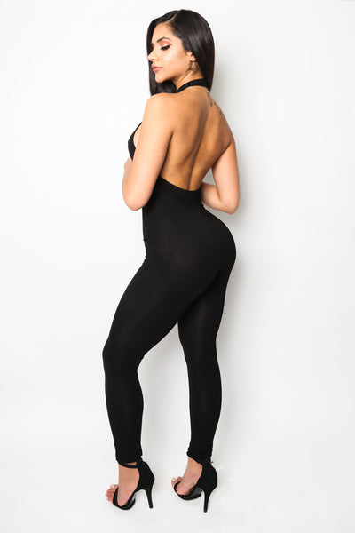 """Get Bodied"" Black Halter Jumpsuit"