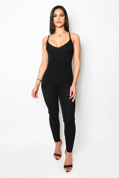 """Black Label"" Black Knit Jumpsuit"