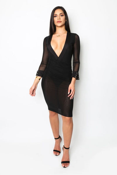 """Fine and Dine"" Mesh Long-Sleeved Dress Strictly Fits Boutique Dresses Collection"