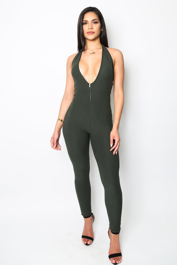 """Sign Me Up"" Army Green Zipper Jumpsuit"