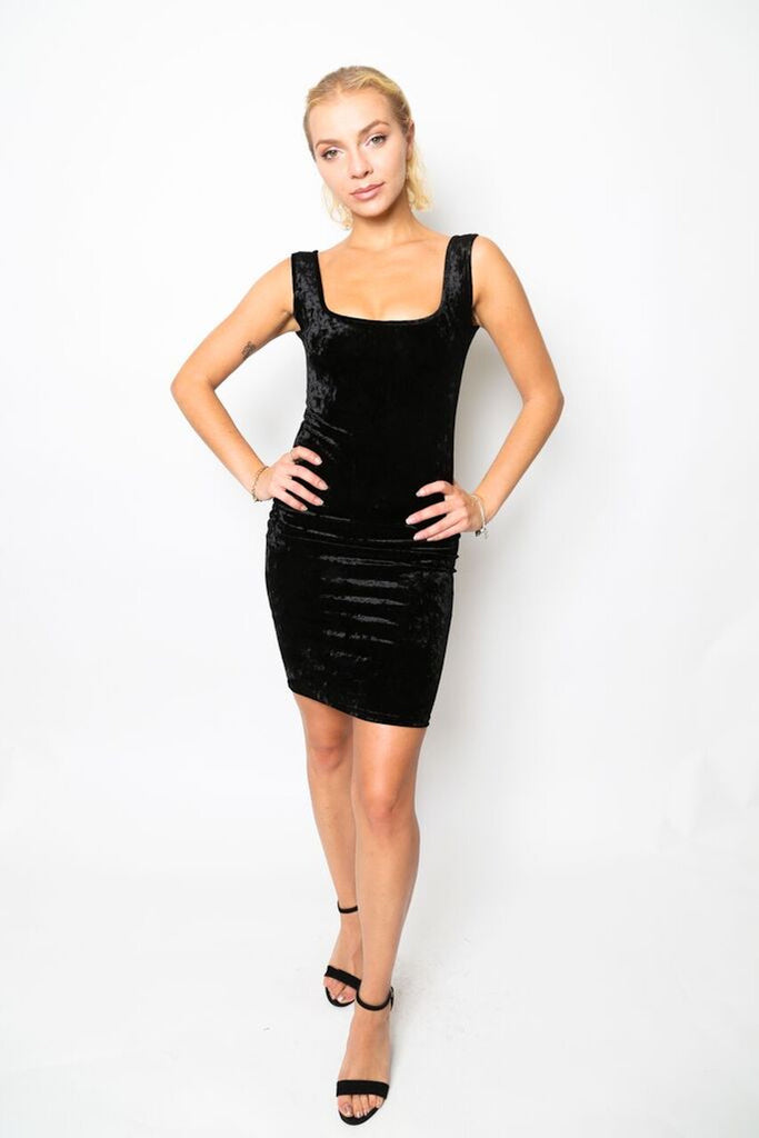 """Crush On You"" Velvet Bodycon Dress Strictly Fits Boutique Dresses Collection"