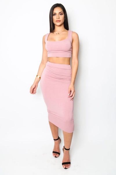 """Drippin' In Rosé"" Crop Top and Skirt Set"