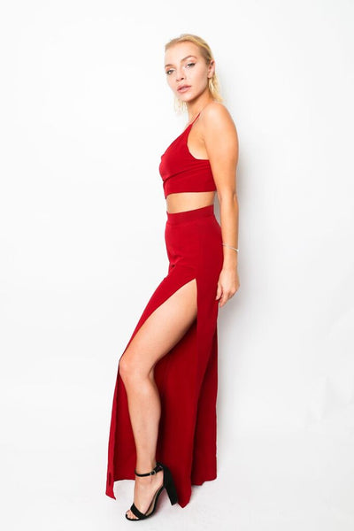 """Fiery Heart"" Crop Top and Wide Leg Pants Set"