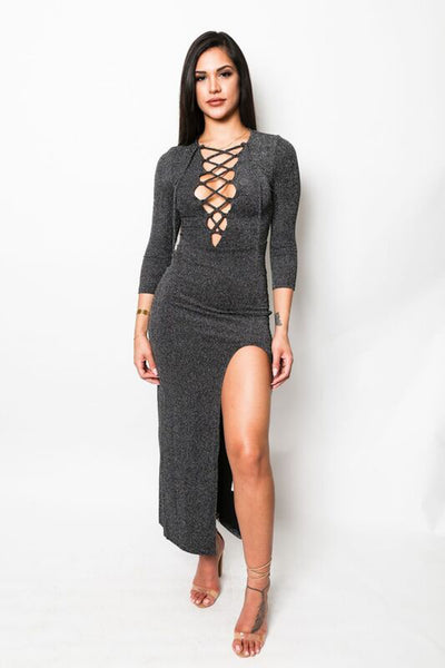 """Silver Foxi"" Criss-Cross Maxi Dress"