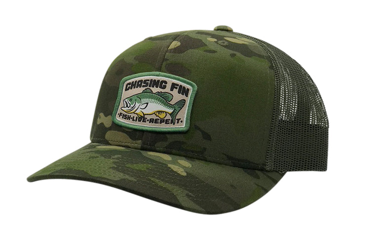 Bass Catcher Green Camo Trucker Cap