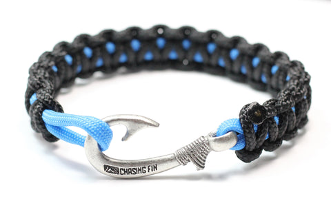 New Slim Cobra Braid Fish Hook Bracelet (Black & Blue)