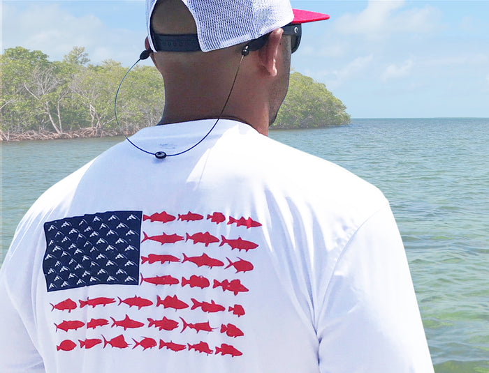 American Fish Flag Performance Shirt (White)