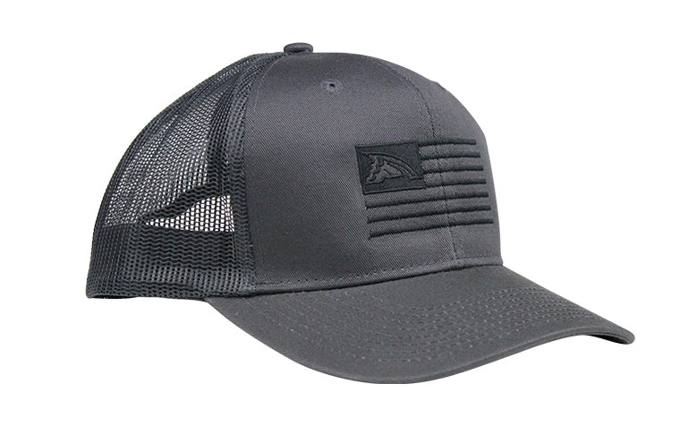 Solid Charcoal Flag Mesh Trucker Hat