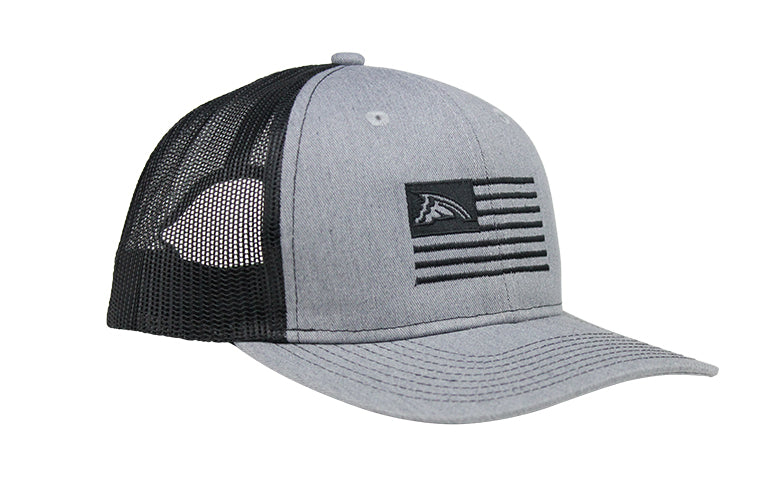 Heather Gray & Black Flag Mesh Trucker Hat
