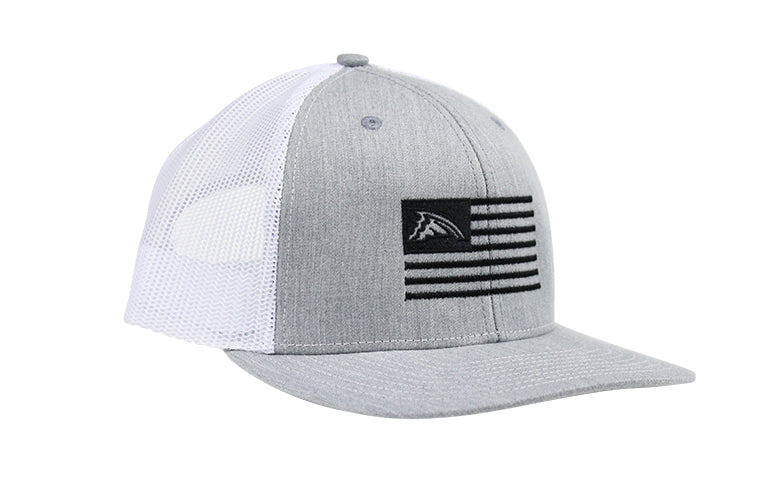 Heather Gray & White Flag Mesh Trucker Hat