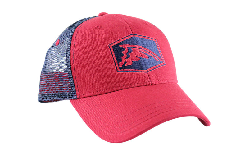 Navy & Red Mesh Trucker Hat